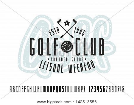 Narrow sanserif font and golf club label. Bold face. Print on white background