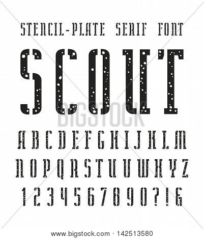 Narrow stencil-plate serif font with speckled texture. Bold face. Black print on white background