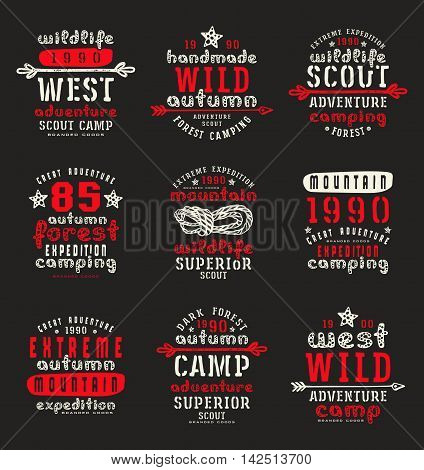 Set of typographic compositions for t-shirt. Outdoor recreation. Print on black background