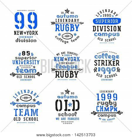 Set of typographic compositions for t-shirt. Rugby team. Print on white background