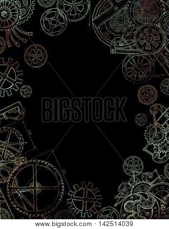 Hand drawn frame with mechanical parts, old watch, gears and cogs on black background. Vintage technology illustration in steampunk style