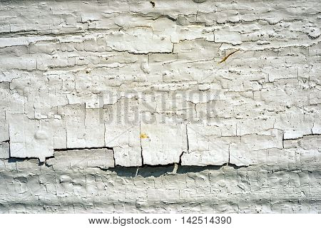 Close Up Of Old Cracked White Wooden Window Sill As A Background