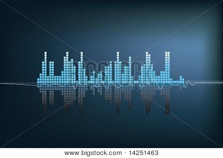 modern illustration of a blue soundwave with reflection