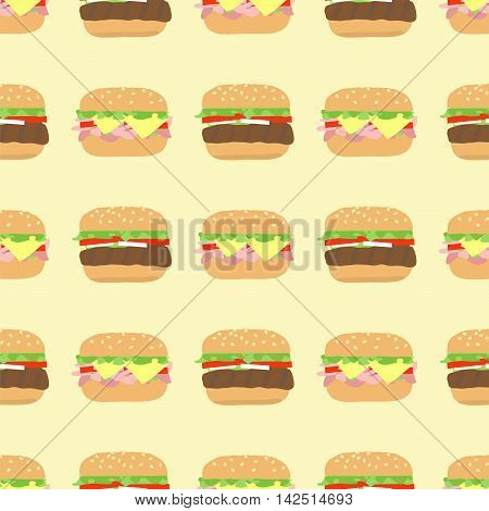 Seamless pattern with hamburger and cheeseburger in rows