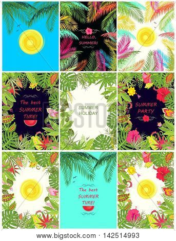 Collection of summery tropical banner