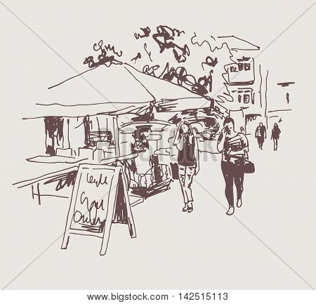 original digital sepia sketch of street cafe in Kyiv, Ukraine town landscape, pleinair drawing, vector illustration