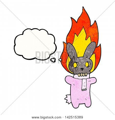 freehand drawn thought bubble textured cartoon flaming skull rabbit