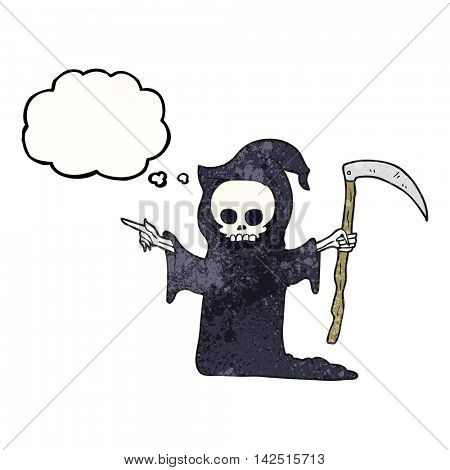freehand drawn thought bubble textured cartoon death with scythe