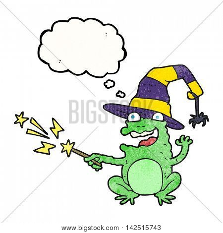 freehand drawn thought bubble textured cartoon toad casting spell