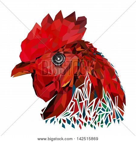 Geometric design prints a rooster. Animal image