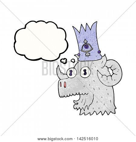 freehand drawn thought bubble textured cartoon ram head with magical crown