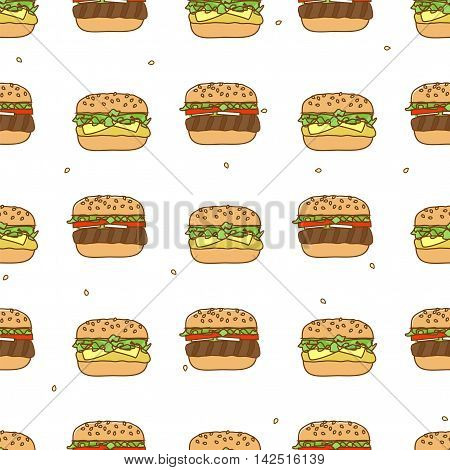 Seamless pattern with hamburger and cheeseburger. Fast food vector illustration.
