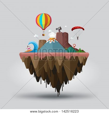 Floating island extreme tourism end sports. Travel and tourism