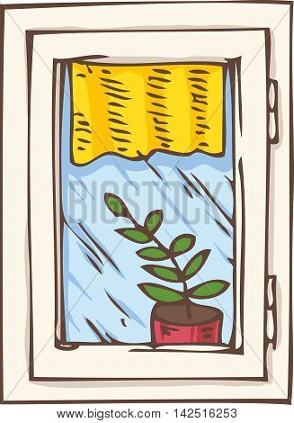 White Plastic Window with Yellow Curtain and Plant in a Pot on a Windowsill. Hand Drawn Illustration