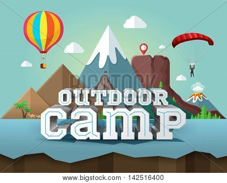 Outdoor camp poster with 3d text. Travel and tourism