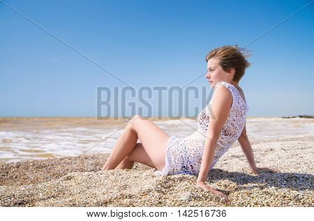 Girl relax on beach. Happinness life concept