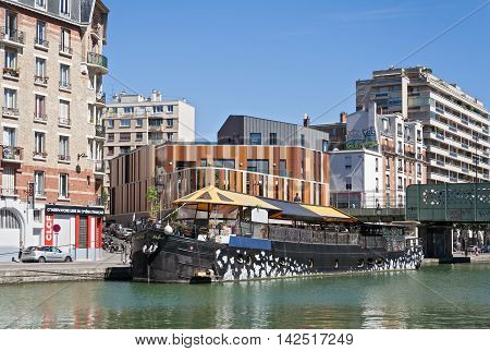 PARIS, FRANCE - AUGUST 9, 2016: restaurant ship on the Saint Martin canal in Paris France