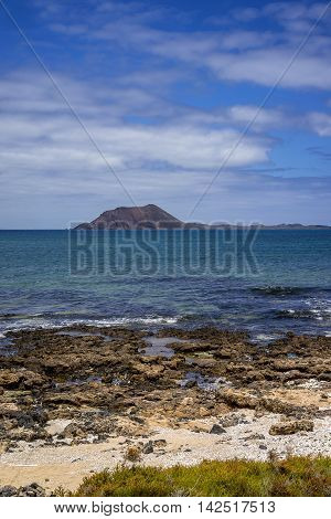 View on isla de lobos, Lobos island, from Beach in Corralejo, Fuerteventura, Canary