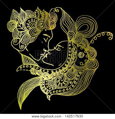 Golden vector kissing couple in doodle style on black background. Can be used as card, invitation, background element, adult coloring book. Hand drawn style. Wedding invitation. Zentagle.