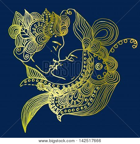 Golden vector kissing couple in doodle style on blue background. Can be used as card, invitation, background element, adult coloring book. Hand drawn style. Wedding invitation. Zentagle.