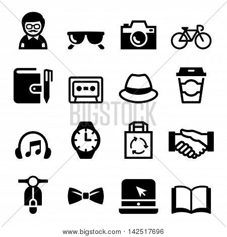 Hipster Icons set Vector Illustration Vector illustration Graphic design
