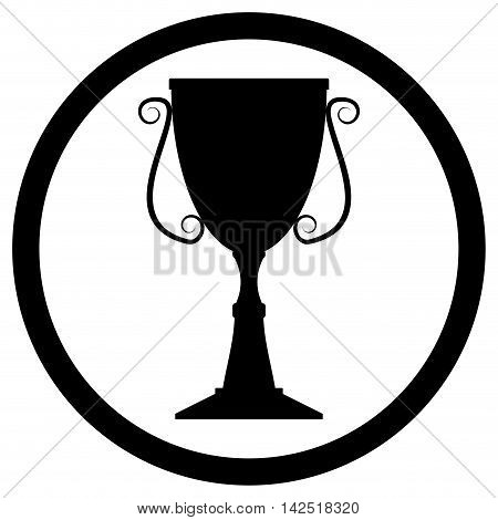 Trophy cup black. Trophy icon for award icon goblet monochrome. Vector illustration