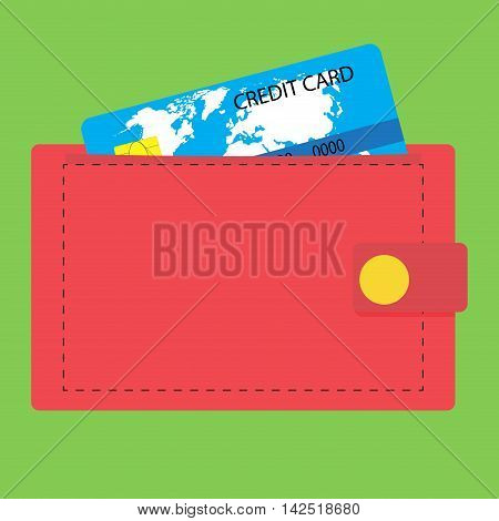 Wallet with credit card. Money and wallet icon credit card in pocket vector illustration