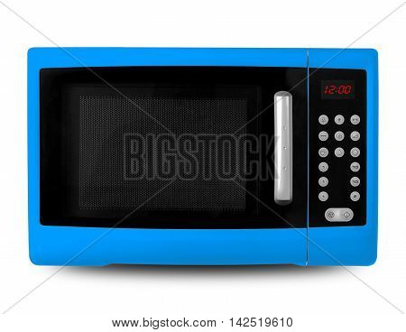 Household appliances - Blue digital Microwave on an white background.