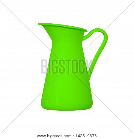 Storage for liquids - Green jug ewer on a white background.