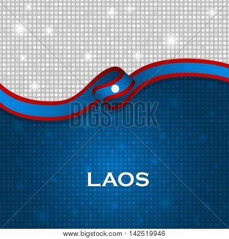 Laos Flag Ribbon Shiny Particle Style. Vector Illustration