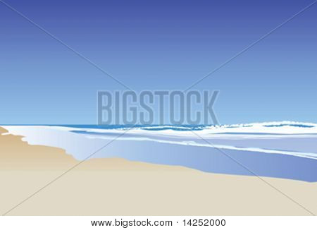 A vector illustration of a blue ocean and rolling waves