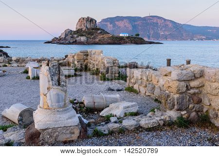A little island Kastri near Kos island in the soft morning light, Dodecanese, Greece.