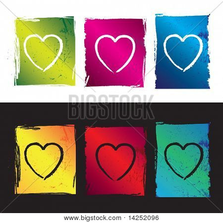 abstract funky illustration of grunge love hearts