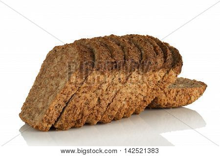 sliced loaf bread wholemeal with seeds on white background
