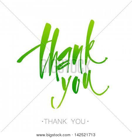 THANK YOU. Handwritten color brush pen lettering isolated on white background.  Thank you lettering handmade calligraphy. Vector illustration.