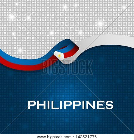 Philippines Flag Ribbon Shiny Particle Style. Vector Illustration