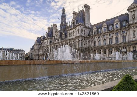 PARIS, FRANCE - MAY 13, 2015: This is Paris City Hall known as Hotel de Ville.