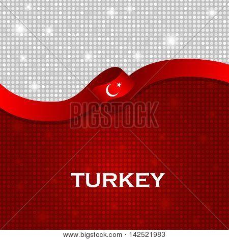 Turkey Flag Ribbon Shiny Particle Style. Vector Illustration