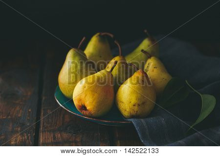 Pears on a plate, still life