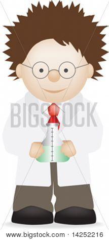 illustration of a cute scientist cartoon character
