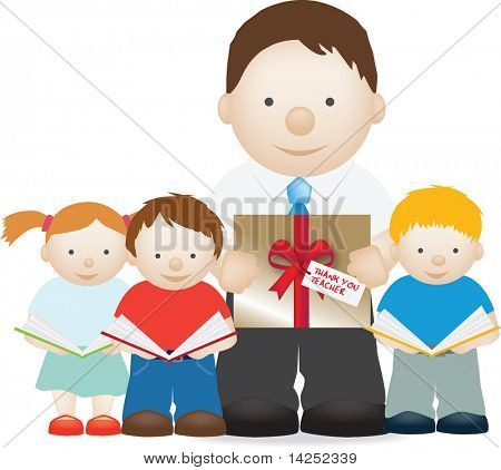 illustration of children with there teaCHER AND GIFT