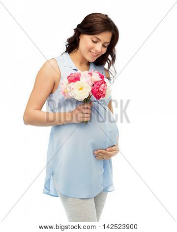 pregnancy, motherhood, holidays, people and expectation concept - happy pregnant woman with flowers touching her big belly over white background