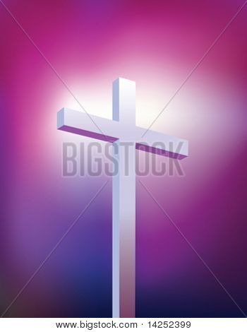 Illustration of a purple and blue christian modern cross