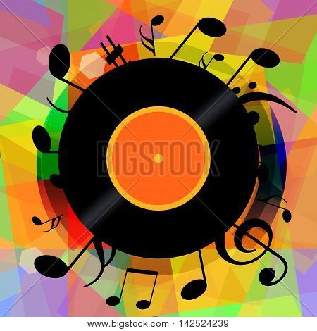 Music background with vinyl record and musical notes