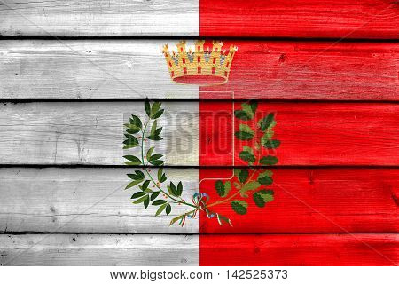 Flag Of Bari With Coat Of Arms, Italy, Painted On Old Wood Plank Background