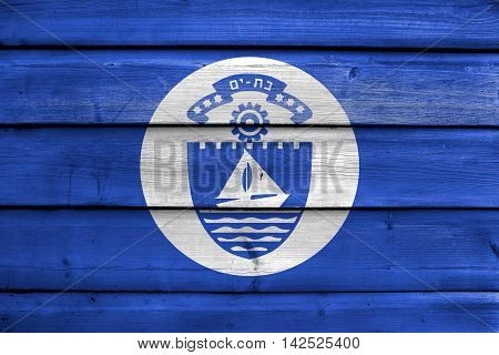 Flag Of Bat Yam, Israel, Painted On Old Wood Plank Background