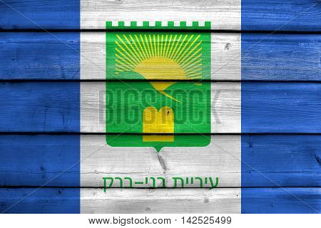 Flag Of Bnei Brak, Israel, Painted On Old Wood Plank Background