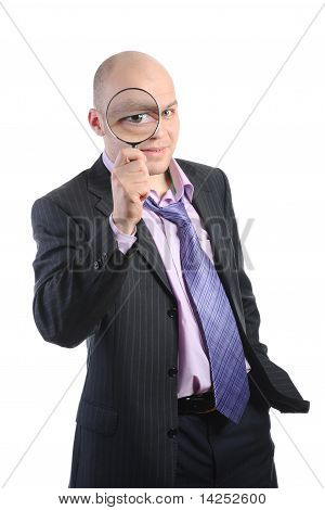 Man with a magnifying
