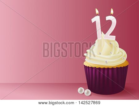 Vector illustration of cup cake with birthday candle 12.