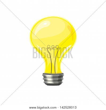 Yellow incandescent bulb, the symbol of the idea, vector illustration